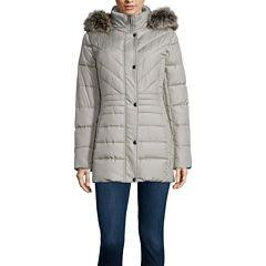 Liz Claiborne® Side Panel Puffer Jacket with Fur Hood