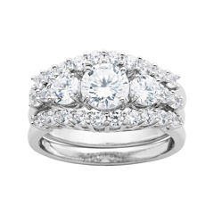 DiamonArt® Cubic Zirconia Sterling Silver 3-Stone Bridal Ring Set