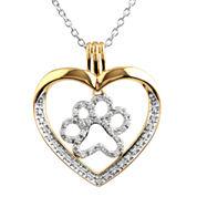 ASPCA® Tender Voices™ ¼ CT. T.W. Diamond Paw Print Heart Pendant Necklace