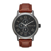 Claiborne® Mens Croc-Look Brown Leather Strap Watch