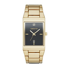 Claiborne® Mens Rectangular Gold-Tone Strap Watch