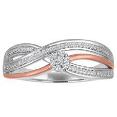 Diamond Blossom Womens 1/10 CT. T.W. White Diamond Sterling Silver Gold Over Silver Cocktail Ring