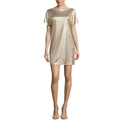 Worthington Short Sleeve Shirt Dress-Talls
