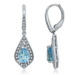 Genuine Blue Topaz & Lab Created White Sapphire Sterling Silver Earrings