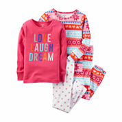 Carter's Girls 4-pc. Long Sleeve Kids Pajama Set-Baby