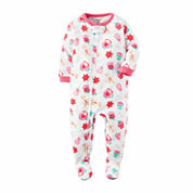 Carter's Girls Long Sleeve Footed Pajamas-Toddler