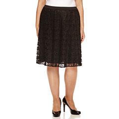 Liz Claiborne Solid Woven Pleated Skirt Plus
