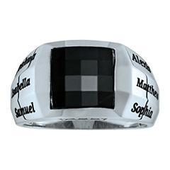 Personalized Men's Birthstones & Black Onyx Engravable Ring