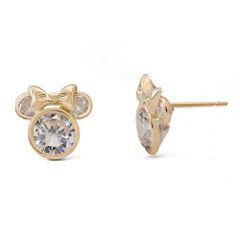 Disney® 14K Yellow Gold Cubic Zirconia Minnie Mouse Stud Earrings