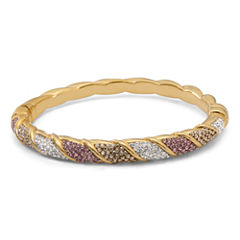 Womens Multi Color Crystal Gold Over Silver Bangle Bracelet
