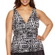 Trimshaper Pattern Tankini Swimsuit Top-Plus