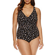 Trimshaper Polka Dot One Piece Swimsuit - Plus