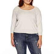 Ashley Nell Tipton for Boutique+ 3/4-Sleeve Scoop Neck Woven Pullover Sweater - Plus