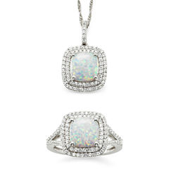 Lab-Created Opal & White Sapphire Sterling Silver 2-pc. Boxed Jewelry Set