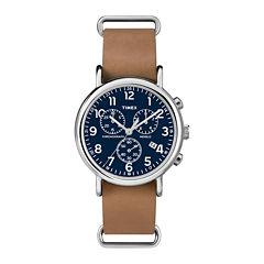 Timex® Weekender Slip-Thru Tan Leather Strap Chronograph Watch TW2P623009J