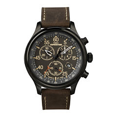 Timex® Expedition® Mens Brown Leather Strap Chronograph Watch T499059J