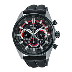 Pulsar® On the Go Mens Black Leather Strap Solar Sport Watch PX5031