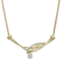 diamond blossom 1/10 CT. T.W. Diamond 10K Yellow Gold Swirl Necklace