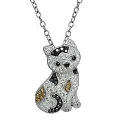 Animal Planet™ Crystal Sterling Silver Calico Cat Pendant Necklace