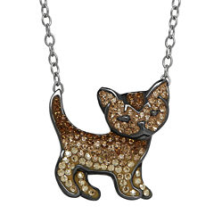 Animal Planet™ Crystal Sterling Silver Abyssinian Cat Pendant Necklace