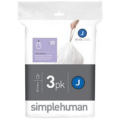 simplehuman® Custom Fit Trash Can Liners Code J - 60-Pack