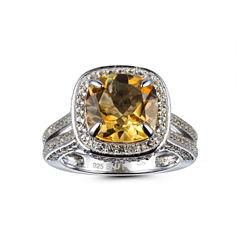 Womens Orange Citrine 14K Gold Over Silver Halo Ring