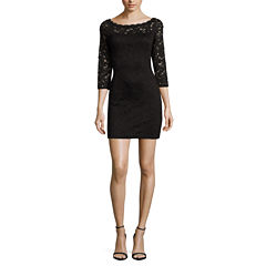 Love Reigns 3/4 Sleeve Lace Bodycon Dress-Juniors