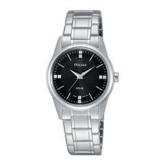 Pulsar® Night Out Womens Crystal-Accent Solar Expansion Bracelet Watch PY5001