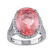 Genuine Pink Quartz and White Topaz Ring