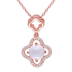 Genuine Pink Quartz and White Topaz Necklace