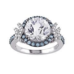 1/8 CT. T.W. Diamond and Multi-Gemstone Halo Ring