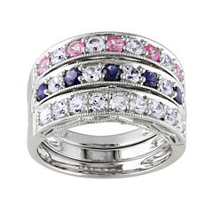 Lab-Created Blue, Pink and White Sapphire 3-pc. Sterling Silver Ring Set