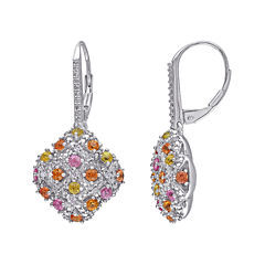 Multicolor Genuine Sapphire and Diamond-Accent Earrings