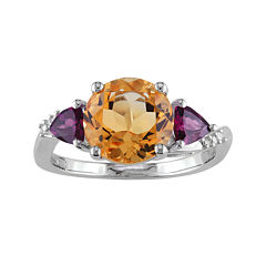 Genuine Citrine, Rhodolite and Diamond-Accent Sterling Silver Ring