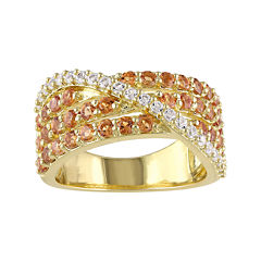 Genuine Citrine and Lab-Created White Sapphire Crossover Ring