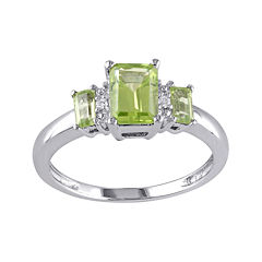 Genuine Peridot and Diamond-Accent 3-Stone Ring