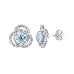 Genuine Sky Blue Topaz and 1/10 CT. T.W. Diamond Earrings