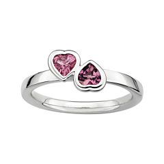 Personally Stackable Genuine Pink Tourmaline Sterling Silver Double-Heart Ring