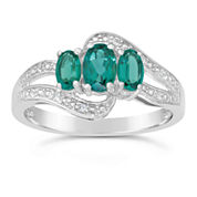 Womens Green Emerald Sterling Silver 3-Stone Ring