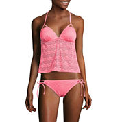 Arizona Mix & Match Coral Molded Cup Tankini Swim Top or Side-Tie Hipster Swim Bottom - Juniors