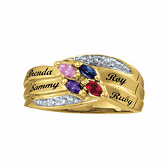 Personalized Family Birthstones Name Ring
