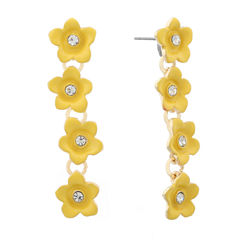 Liz Claiborne Flower Linear Earring Yellow Goldtone
