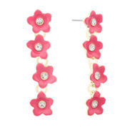 Liz Claiborne Flower Linear Earring Pink And Goldtone