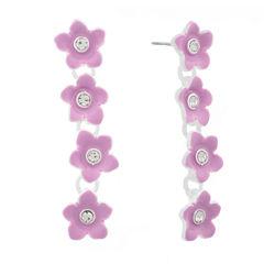 Liz Claiborne Flower Linear Earring Purple Silvertone
