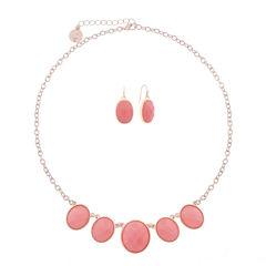 Liz Claiborne Pink Rose Goldtone Oval Necklace Set