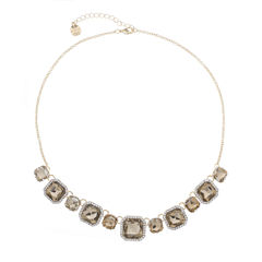 Monet Jewelry Womens Brown And Goldtone Collar Necklace
