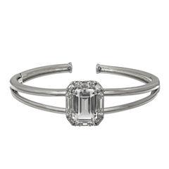 Womens White Sapphire Sterling Silver Bangle Bracelet