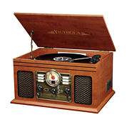 Victrola VTA-600B Wooden 7-in-1 Nostalgic Record Player with Bluetooth and USB Encoding