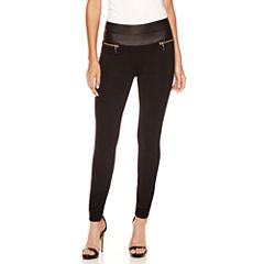 Bisou Bisou® Stacked Faux-Leather-Waist Ponte Pants