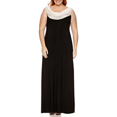 Jackie Jon Sleeveless Beaded Cowl Neck Evening Gown-Plus